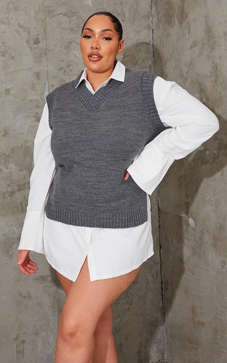 Plus Charcoal V Neck Knitted Side Split Vest 3