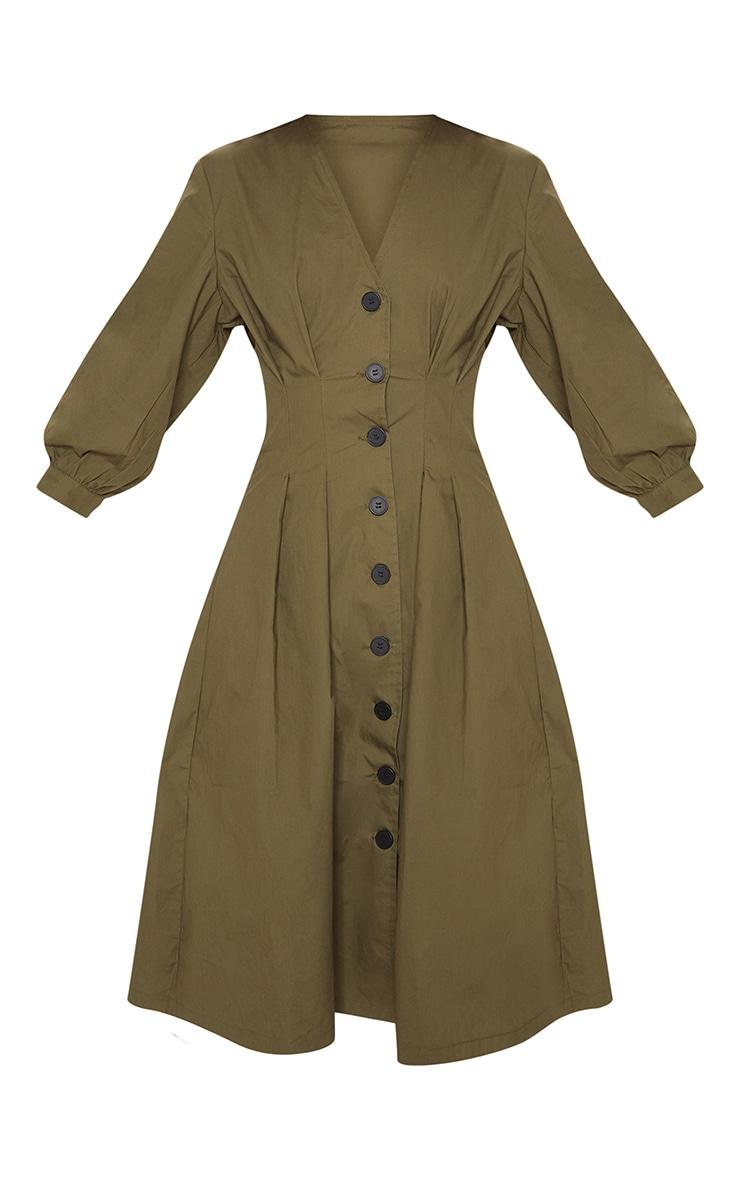Khaki Button Front Midi Pleated Waist Dress 3