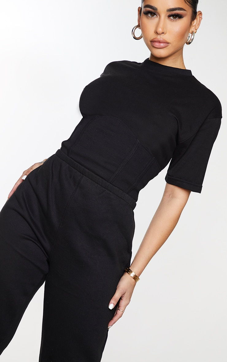 Shape Black Corset Detail Short Sleeve Sweat Jumpsuit 4