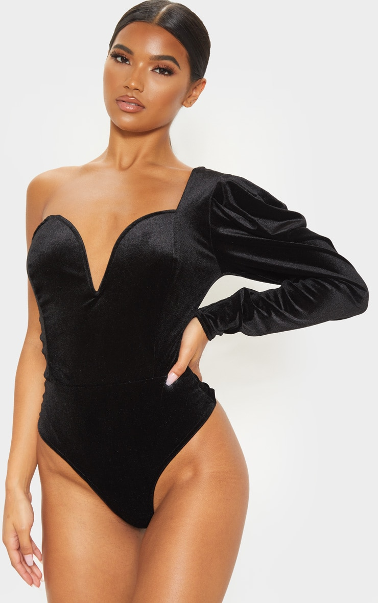 Black Velvet One Shoulder V Wire Bodysuit 2