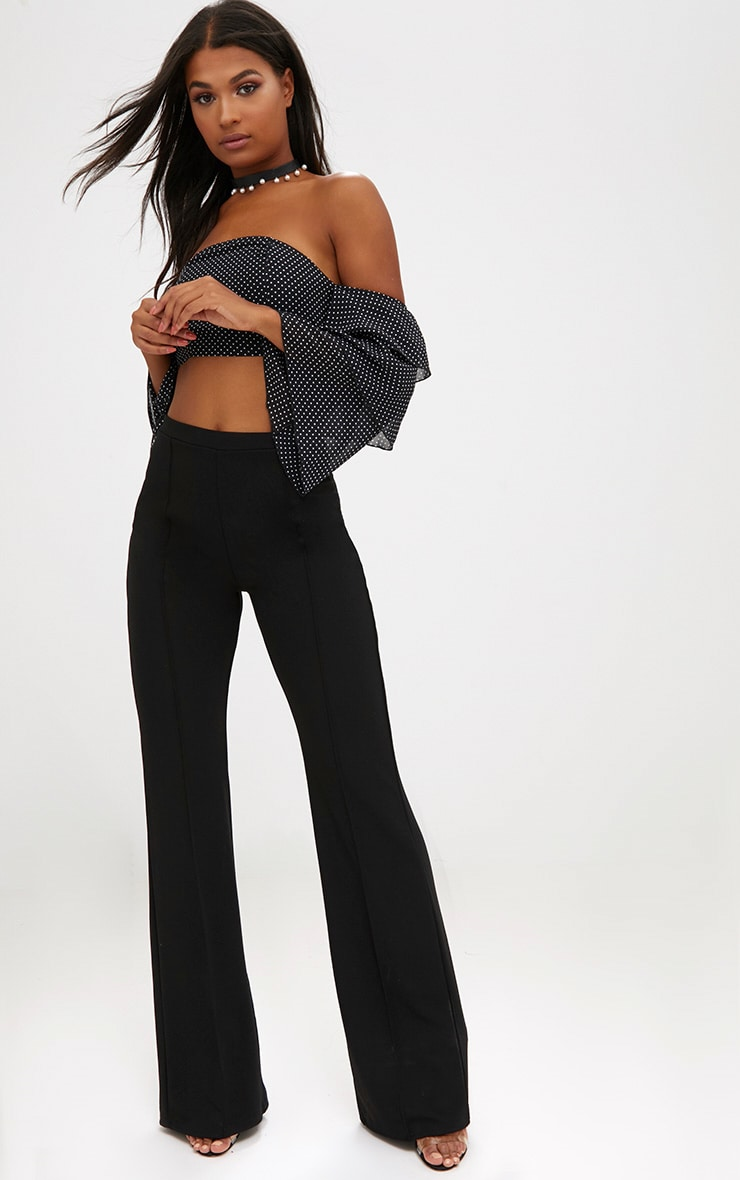 Black Front Seam Wide Leg Trousers 1