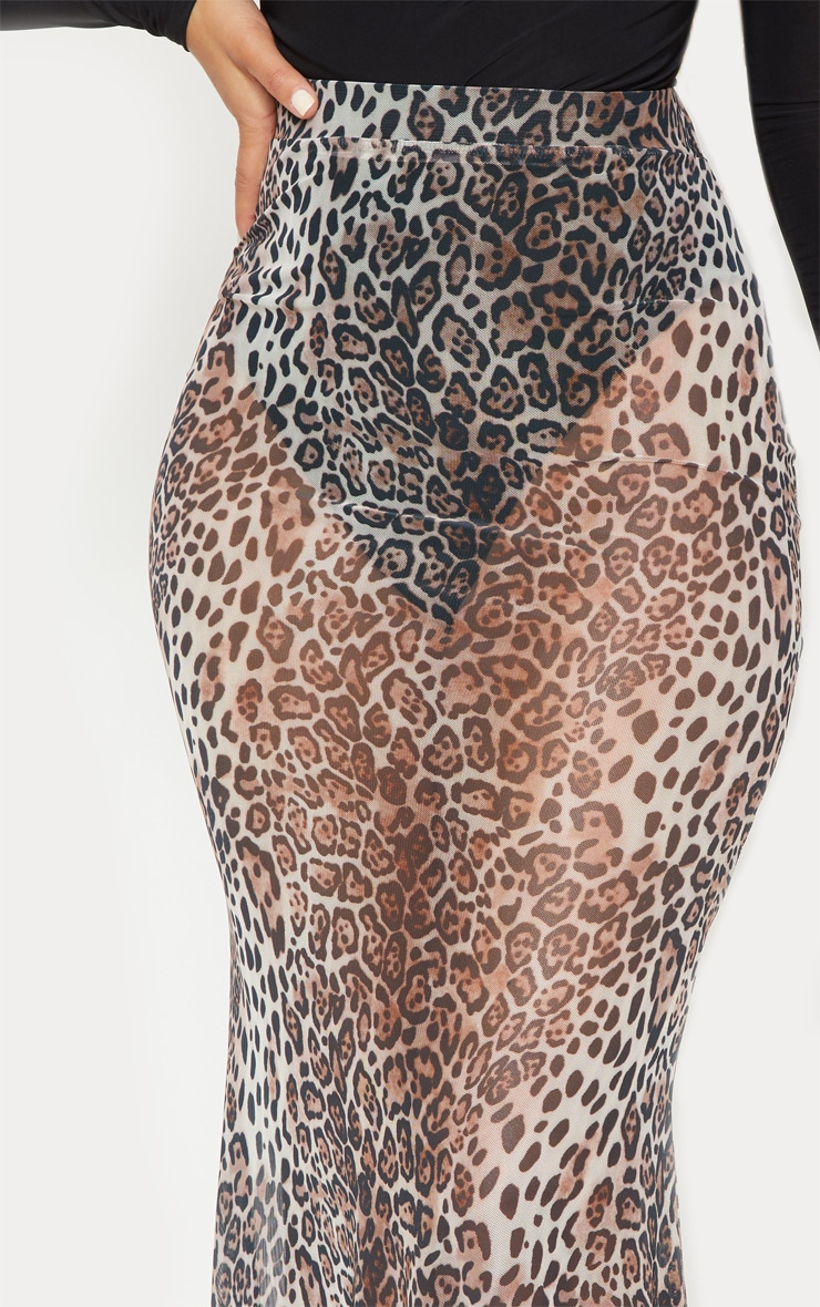 Leopard Print Mesh Maxi Skirt 6