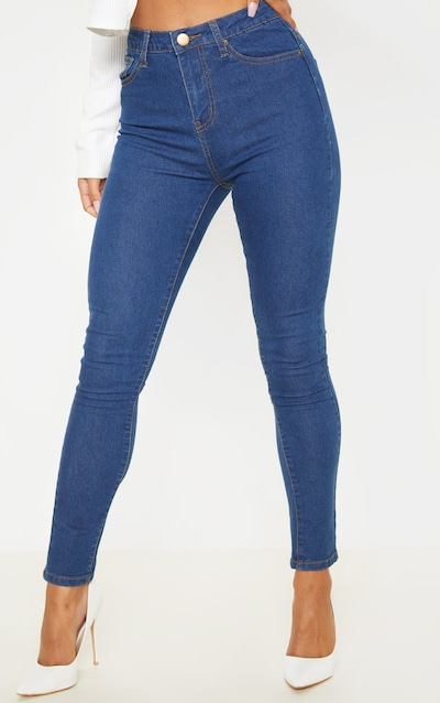 Mid Wash Basic High Waisted 5 Pocket Skinny