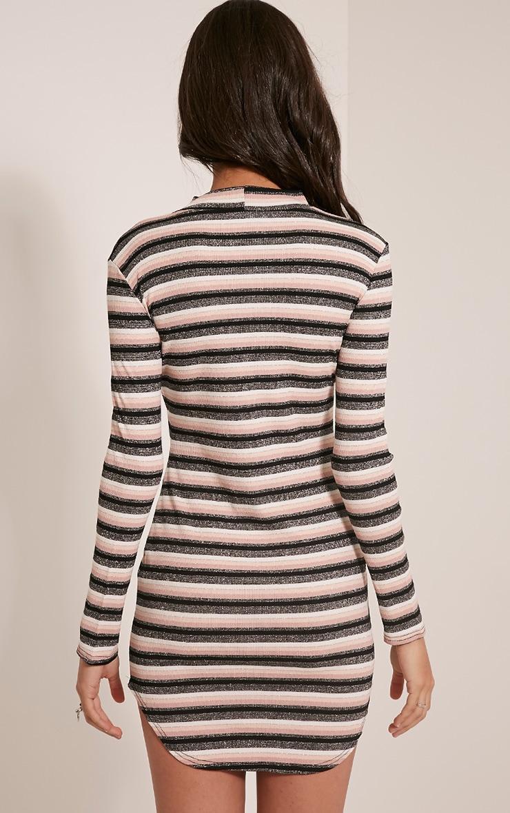 Chessia Dusty Pink Lurex Stripe Bodycon Dress 2