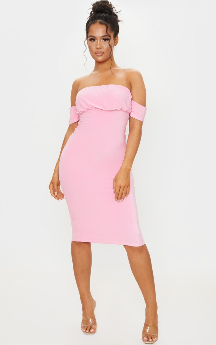 Pink Slinky Bardot Ruched Bust Midi Dress 1