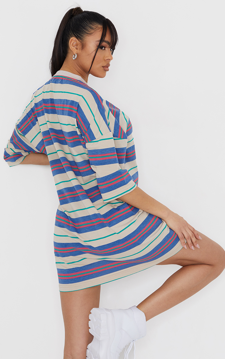 PRETTYLITTLETHING Multi Slogan Stripe Oversized T Shirt Dress 1