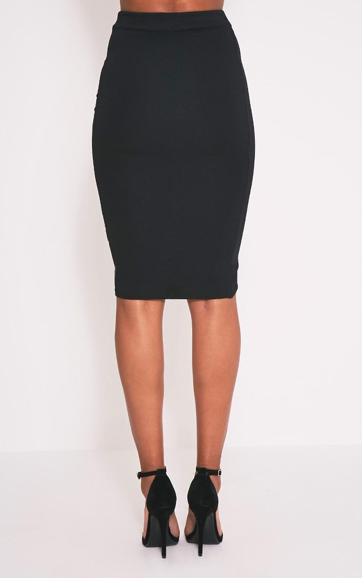 Gabriella Black Wrap Hem Midi Skirt 5