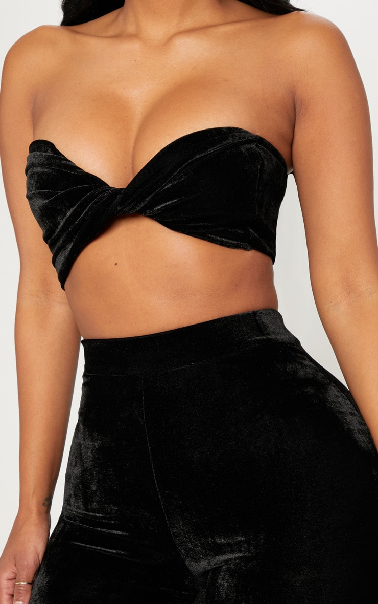 Shape Black Velvet Twist Front Bandeau Crop Top 5