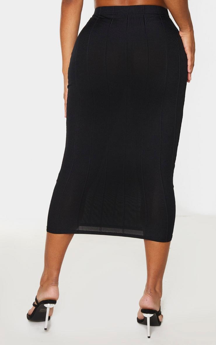 Shape Black Bandage High Waist Midi Skirt 3
