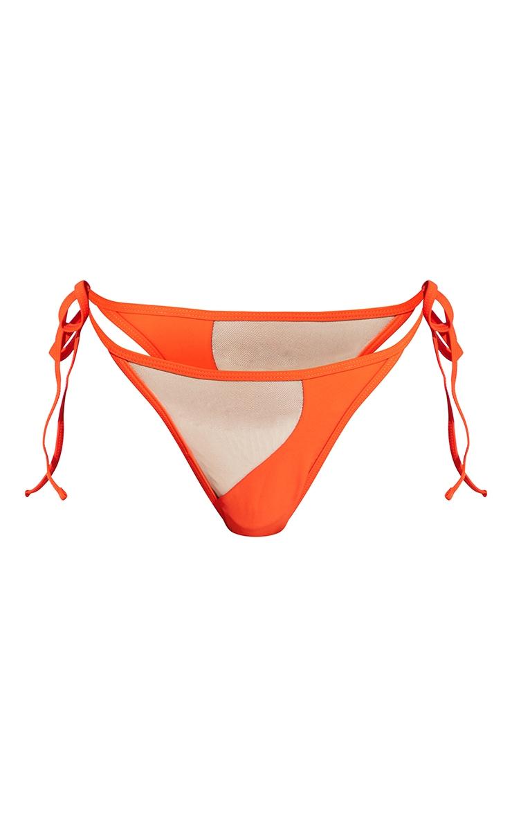 Orange Mesh Panel Bikini Bottoms 8
