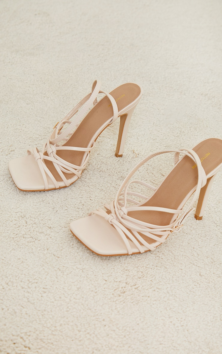 Cream Square Knotted Multi Strap High Heeled Sandals 3