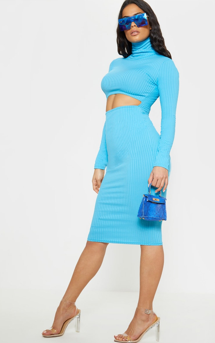 Aqua Long Sleeve Roll Neck Cut Out Midi Dress 4