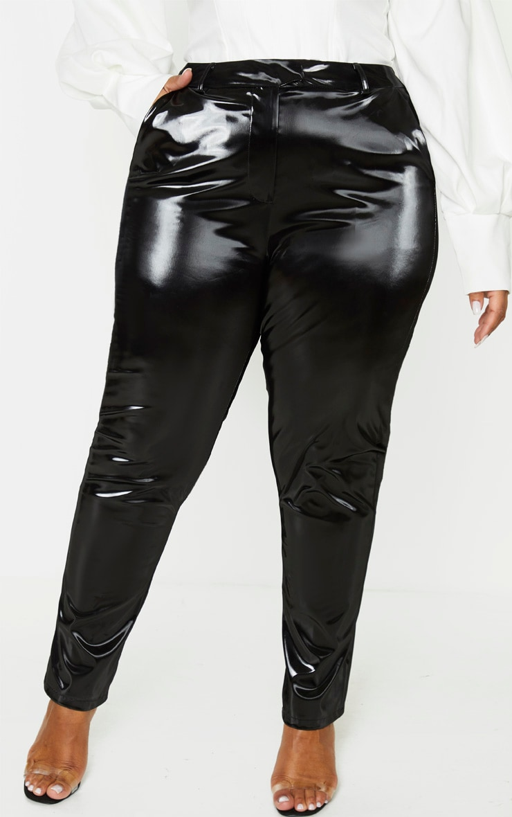 Plus Black Vinyl Skinny Trousers 2