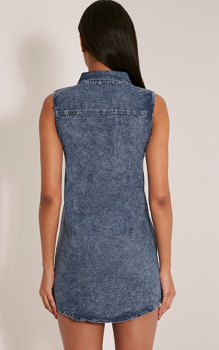 Dawn Acid Wash Lace Up Denim Mini Dress 2