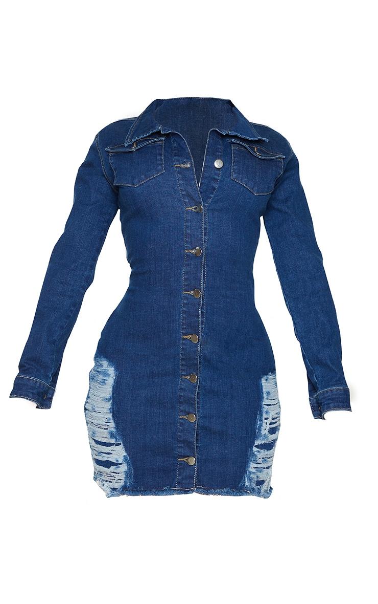 Shape Mid Blue Wash Distressed Detail Denim Shirt Dress 5