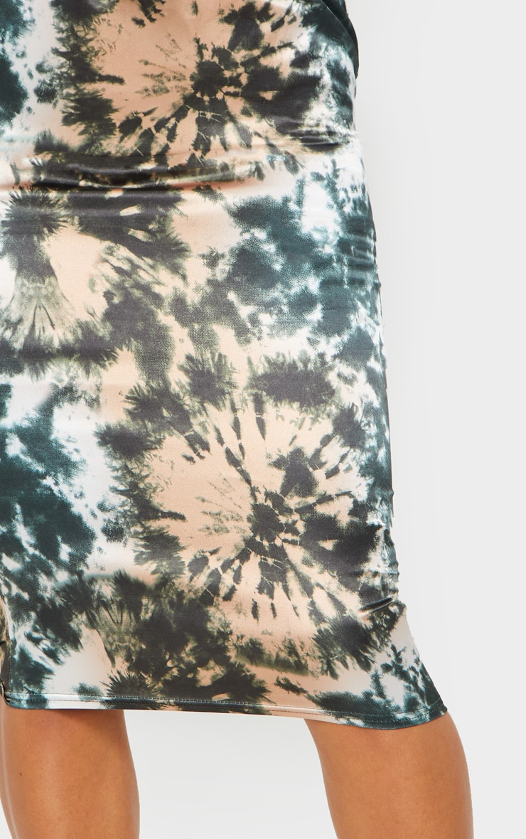 Green Satin Tie Dye Midi Skirt 4