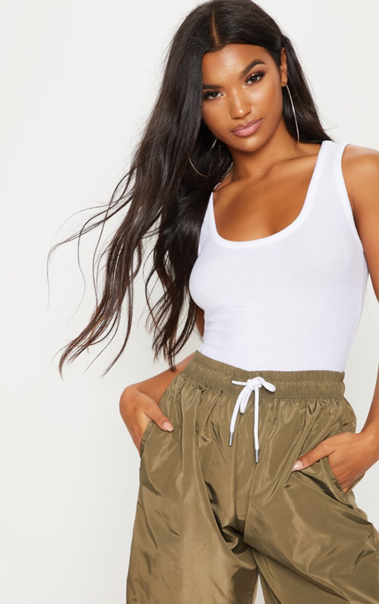 White Fitted Rib Tank Top 2