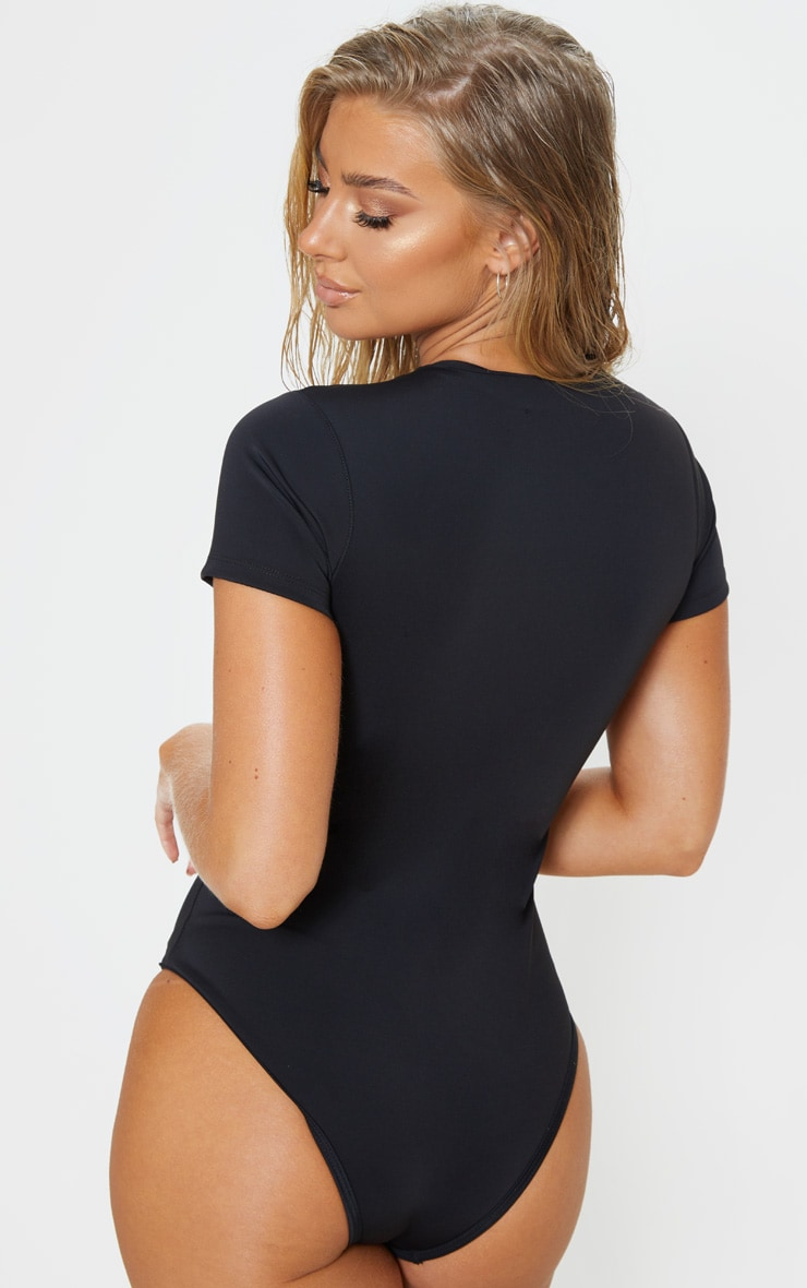 Black Scuba Zip Up Swimsuit 2