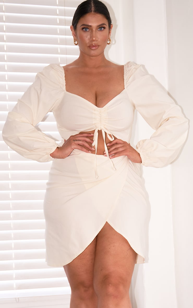 Plus Cream Stretch Ruched Bust Cut Out Wrap Dress 1
