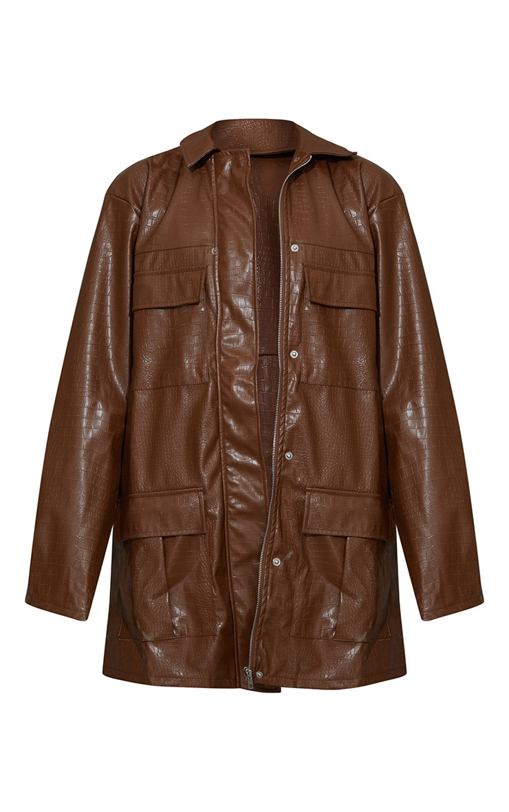 Brown Croc PU Oversized Utility Jacket 10