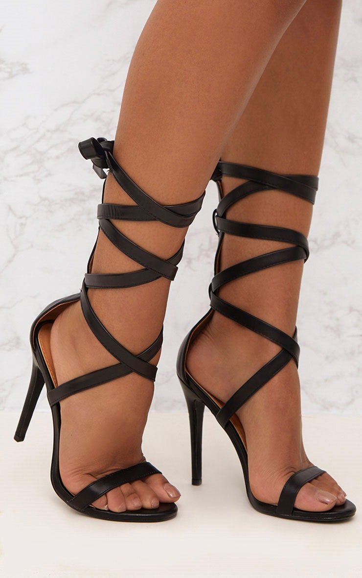 Black PU Lace Up Heels  1