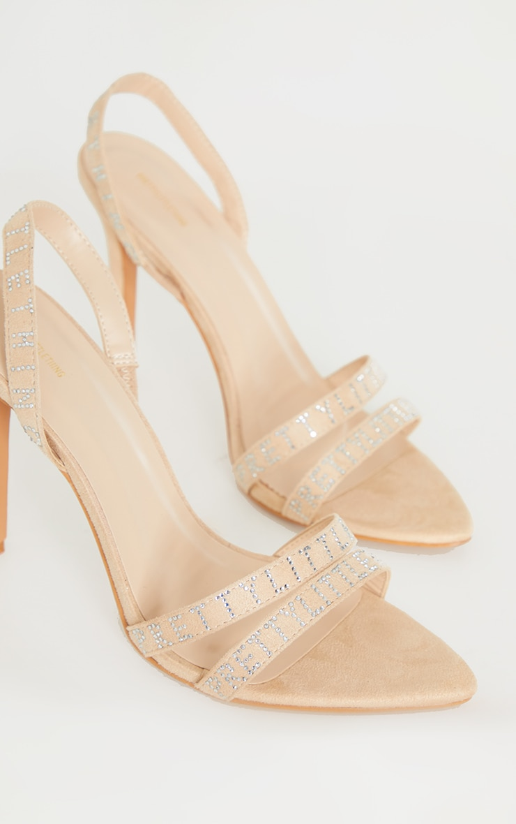 PRETTYLITTLETHING Nude Faux Suede Pointed Toe Sling Back High Heels 3