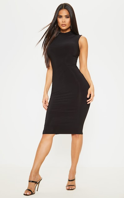 Black Slinky Cross Back Detail High Neck Midi Dress