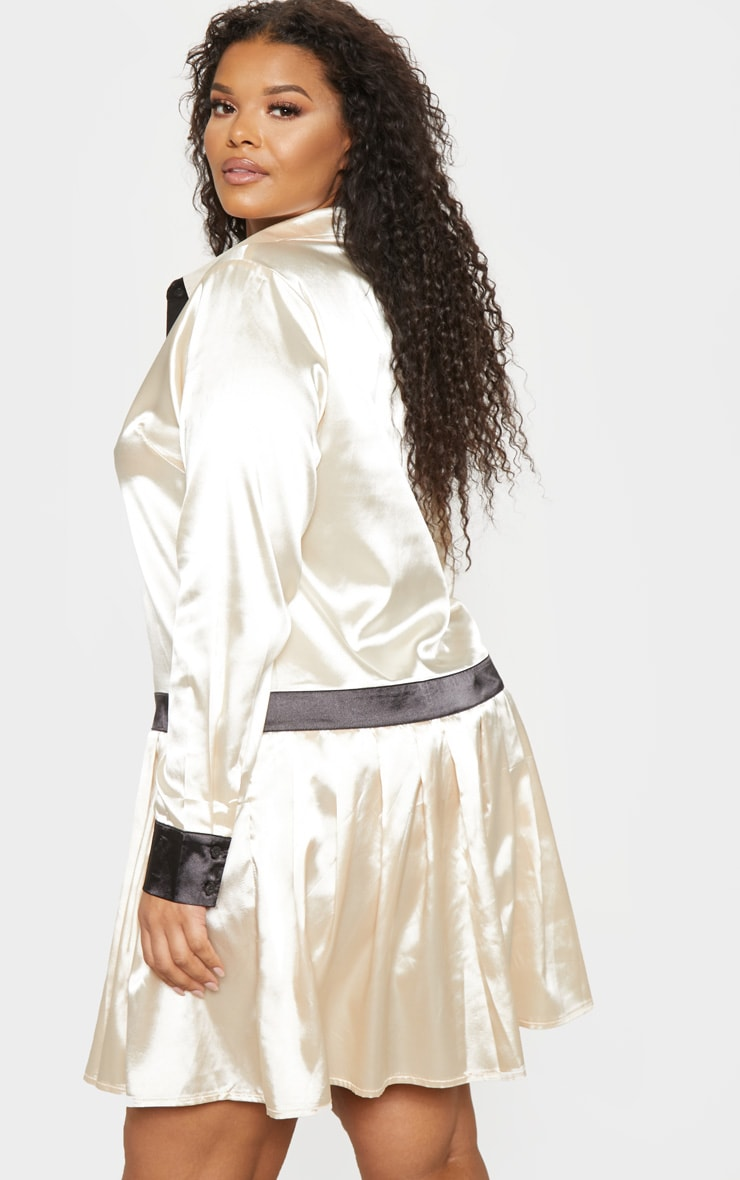 Plus Cream Pleated Skirt Shirt Dress  2