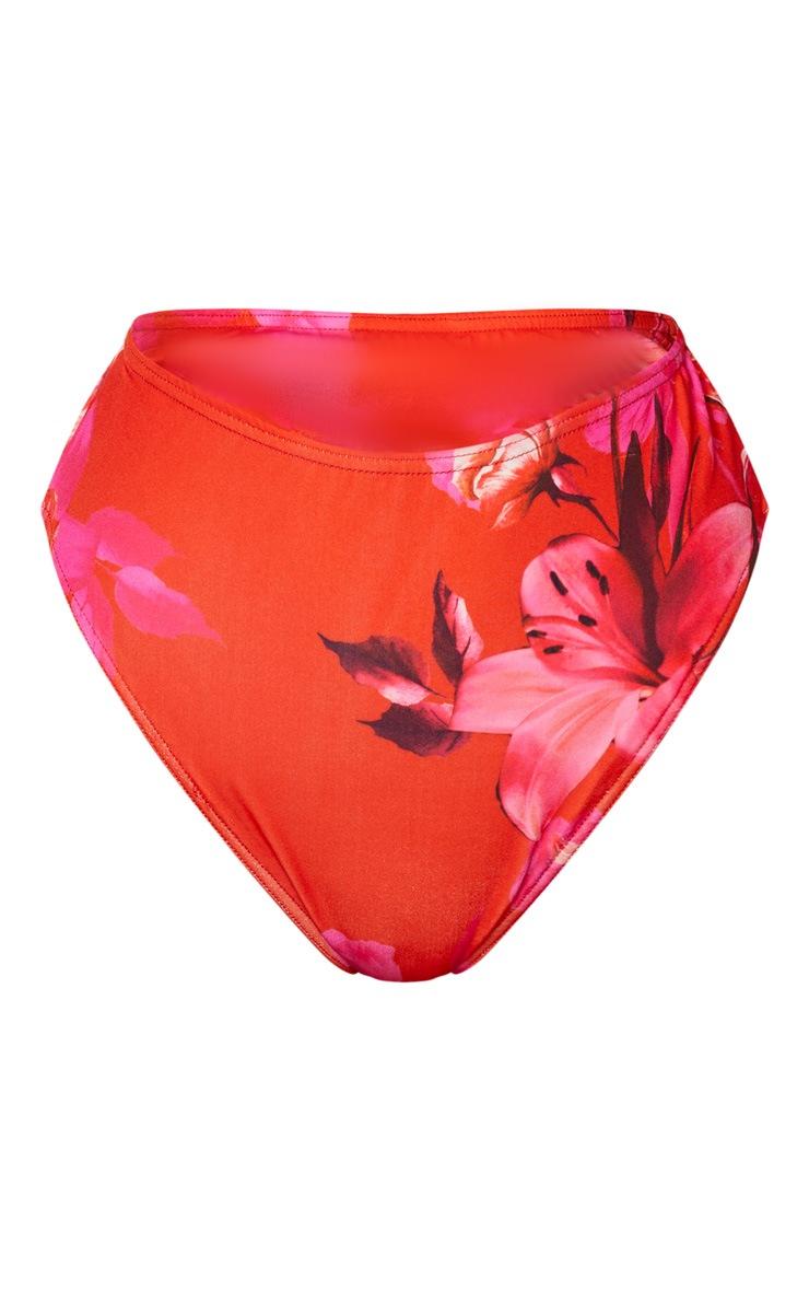 Pink Large Floral Bikini Bottom 7