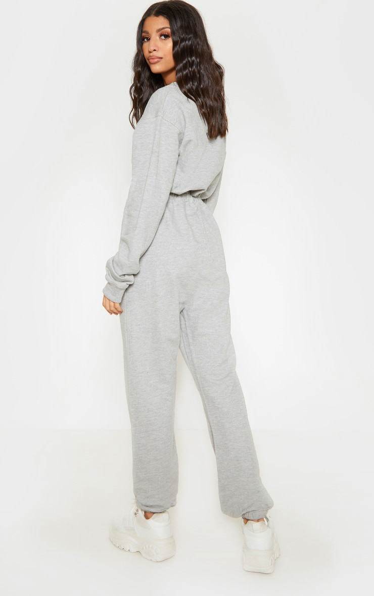 Grey Button Up Loop Back Jumpsuit 2