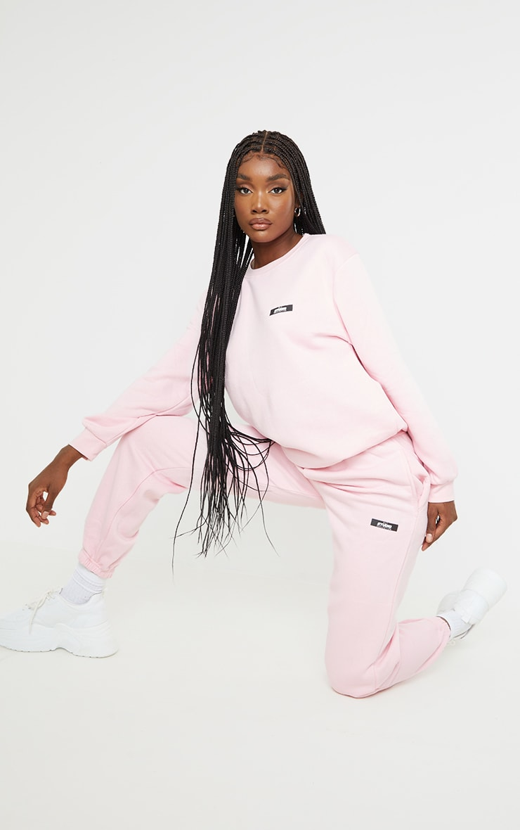 PRETTYLITTLETHING Tall Pink Studio Oversized Joggers 1