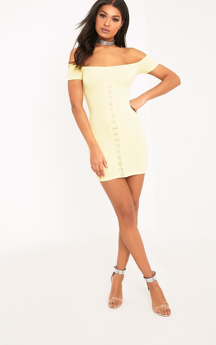 Millia Lemon Bardot Hook And Eye Detail Bodycon Dress  4