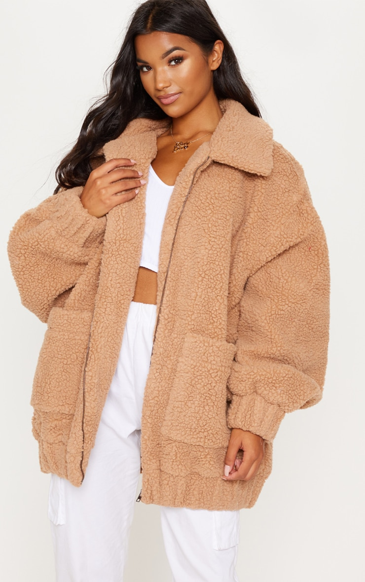 Camel Oversized Borg Pocket Front Coat  1