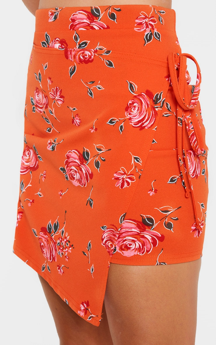 Orange Floral Print Crepe Floral Print Wrap Detail Skirt 5