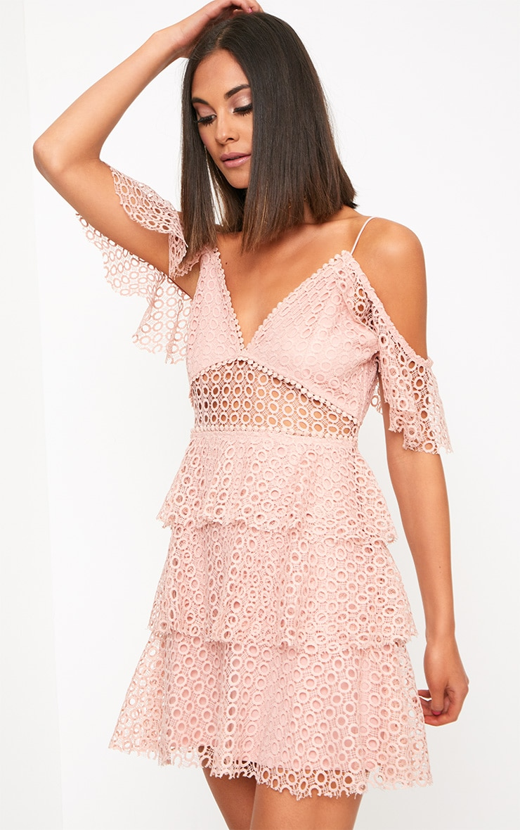 Dusty Pink Lace Cold Shoulder Shift Dress 1
