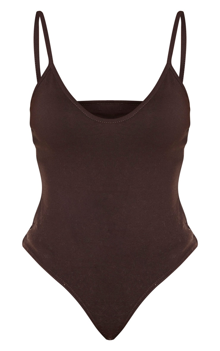 Shape Chocolate Brown Cotton V Neck Strappy Bodysuit 3