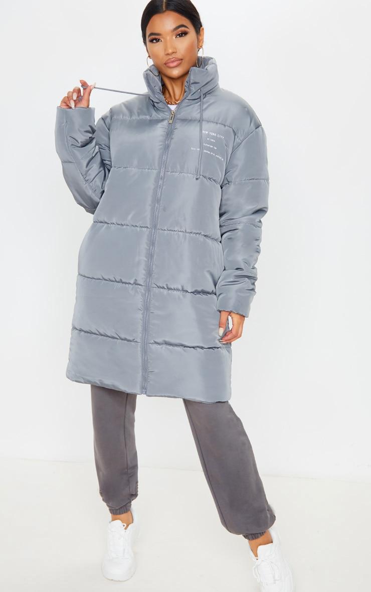 Grey Slogan Midi Oversized Puffer Coat 5