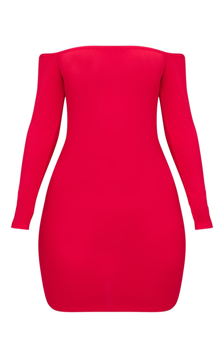 Red Choker Detail Bardot Bodycon Dress 3