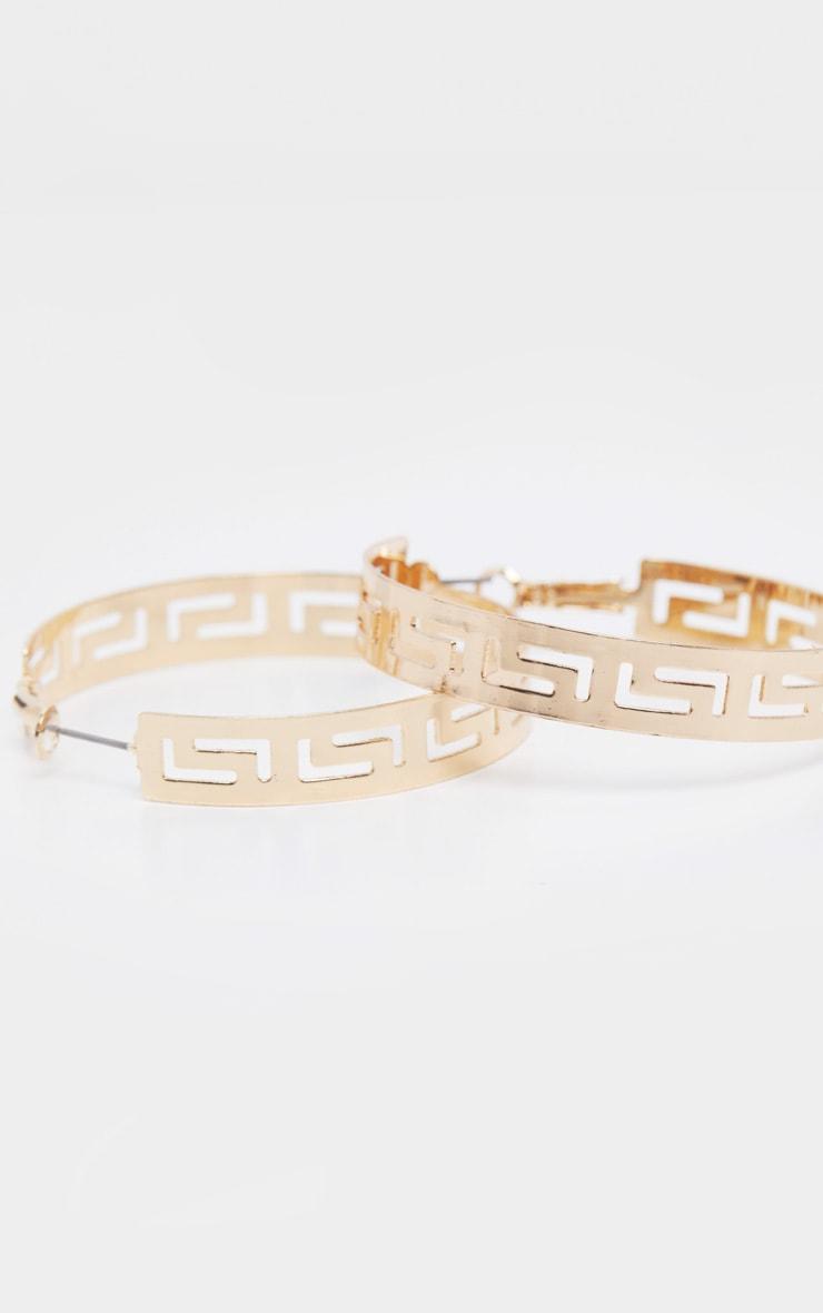 Gold Greek Cut Out Detail Hoop Earrings 2