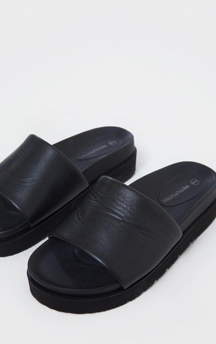 Black Real Leather Footbed Chunky Mule Sandals 4
