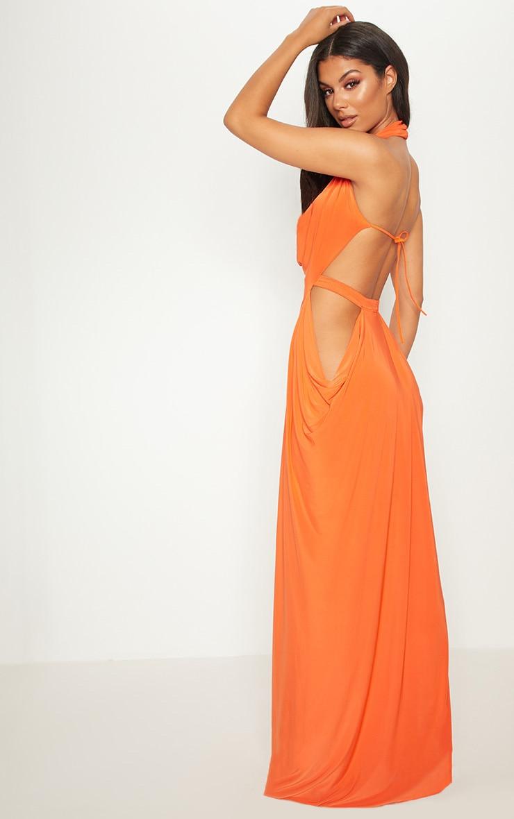 Bright Orange Extreme Cowl Maxi Dress 2