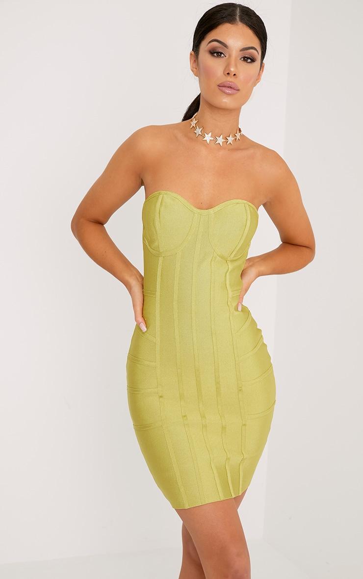 Cloe Premium robe moulante à empiècement bandage citron foncé 1