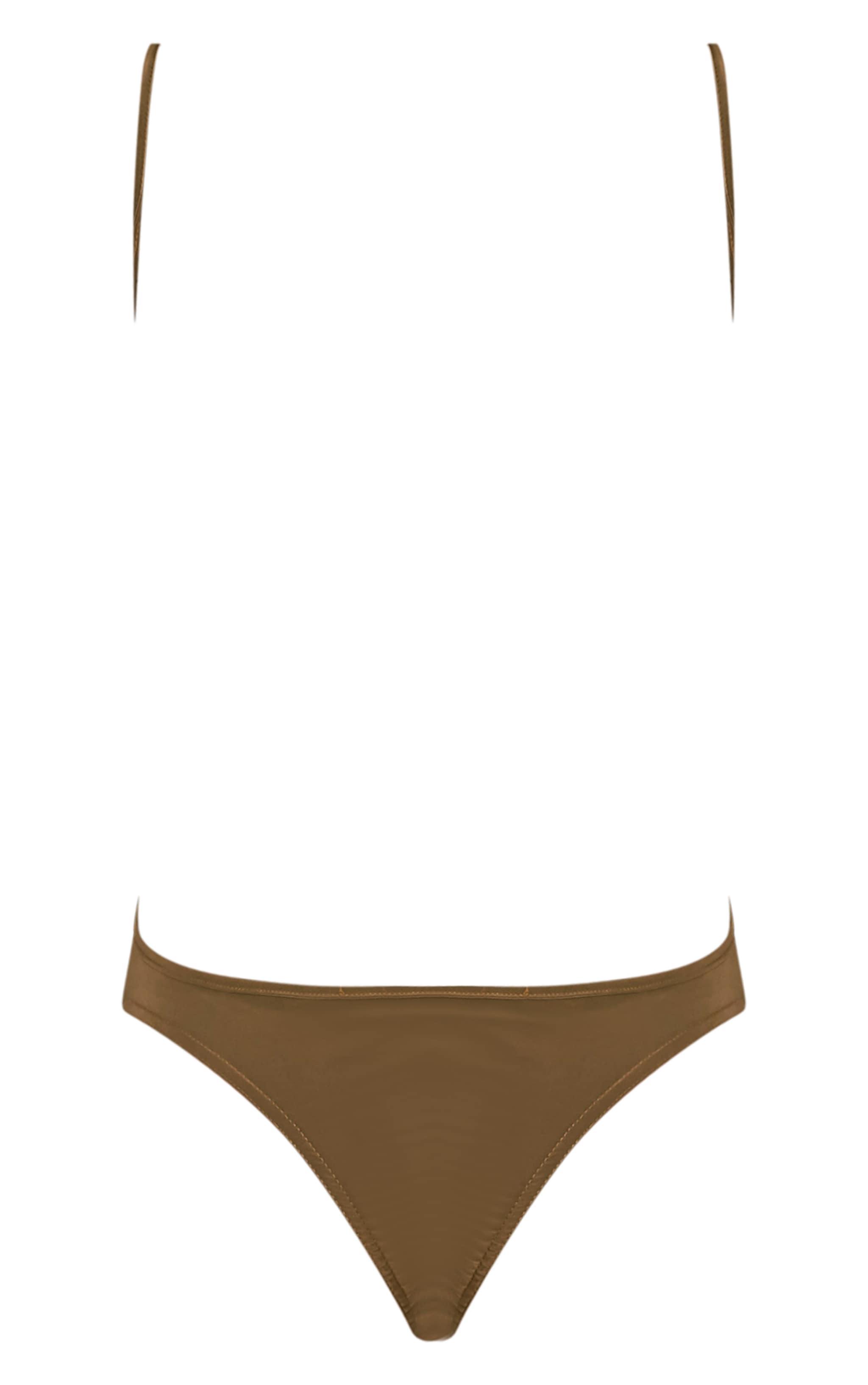 Devonna Khaki Backless Slinky Thong Bodysuit 4