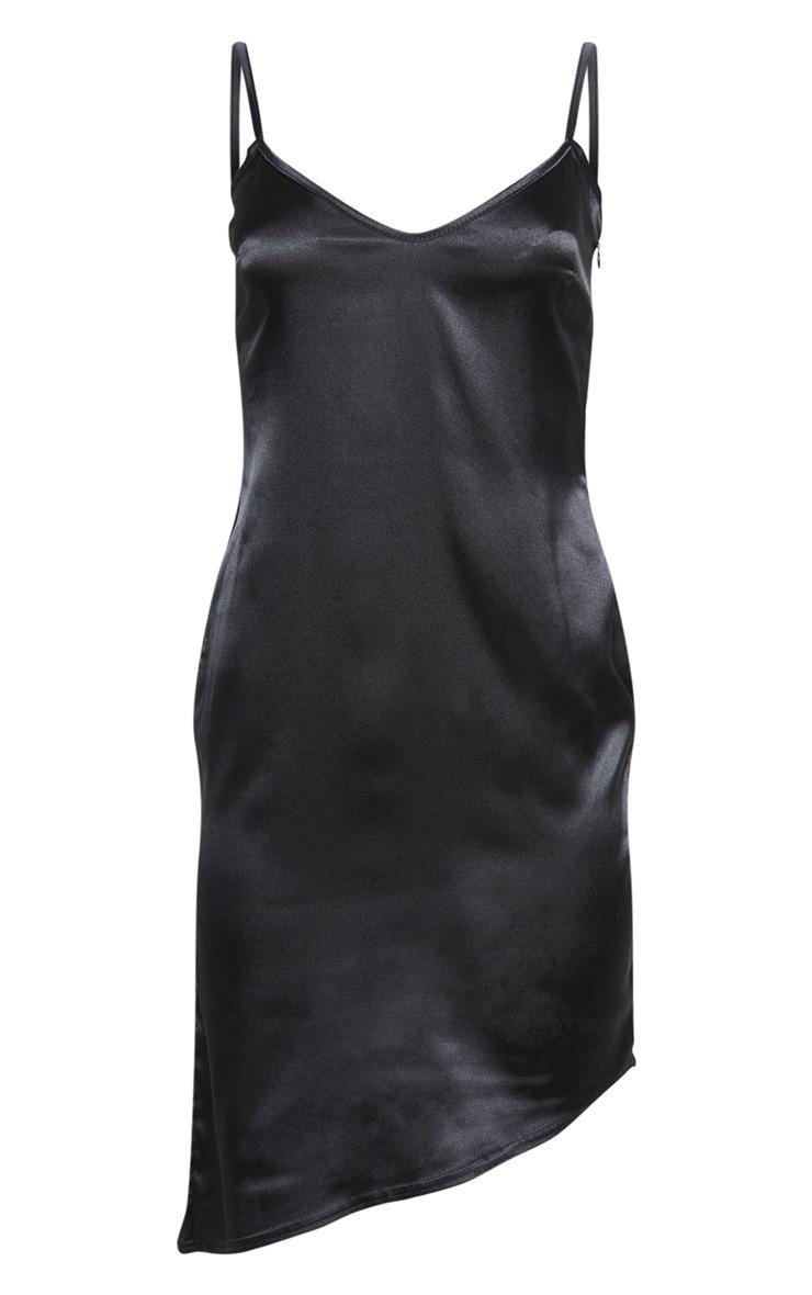 Robe mi-longue satinée noire à col V 3