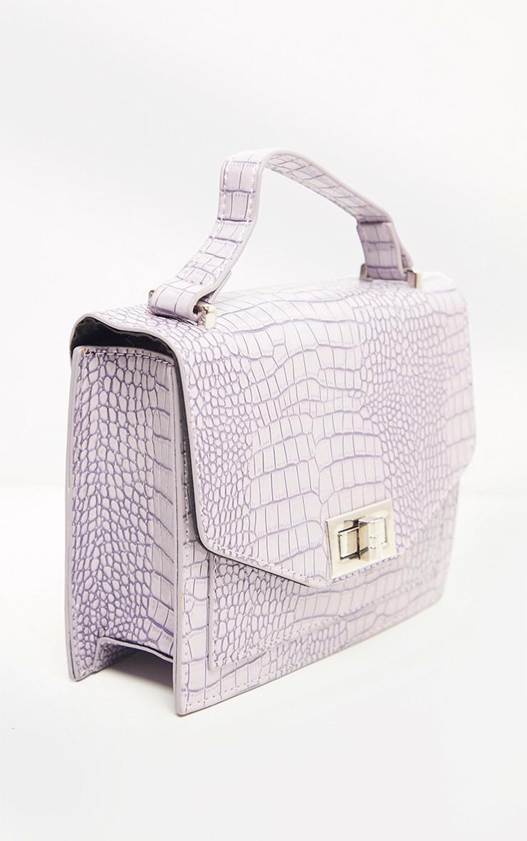 Dusty Lilac Patent Box Cross Body Bag 3