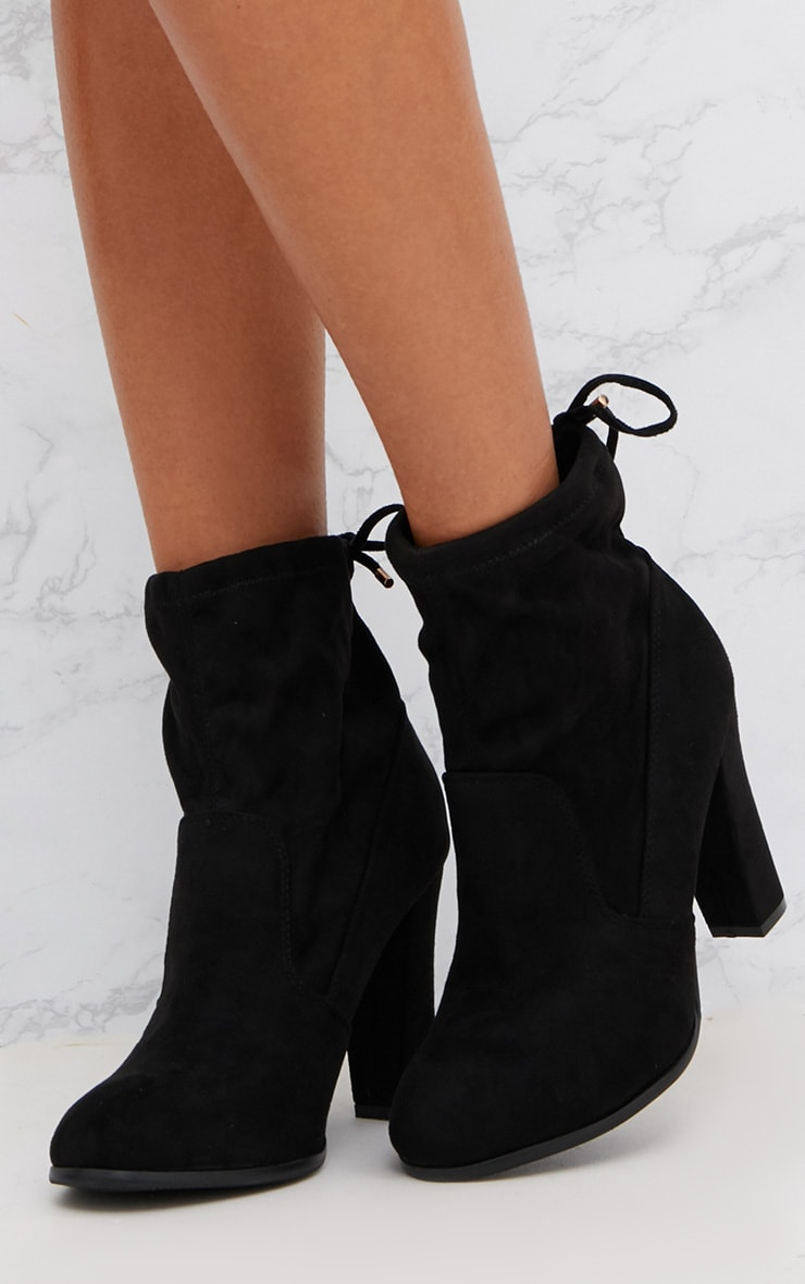 Black Faux Suede Heeled Ankle Boot 2
