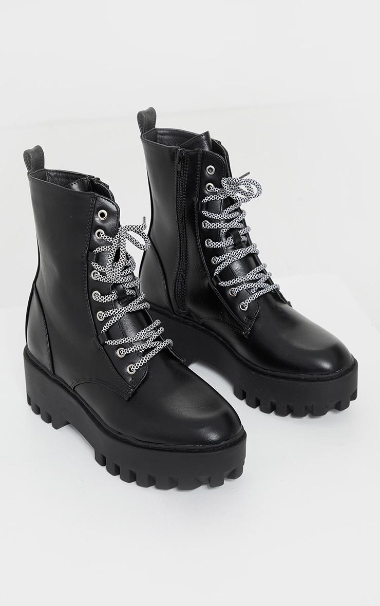 Black PU Hiker Lace Up Chunky Boots 3