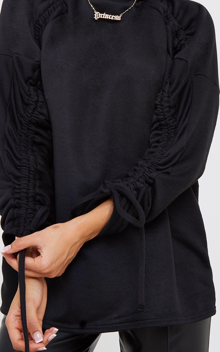 Petite Black Ruched Sleeve Oversized Sweater 4