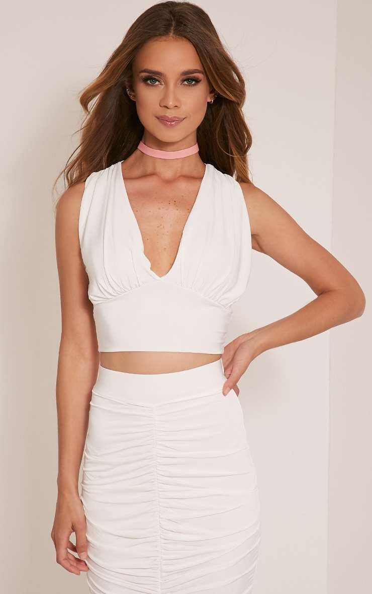 Nicole Cream Ruched Slinky Sleeveless Crop Top 1