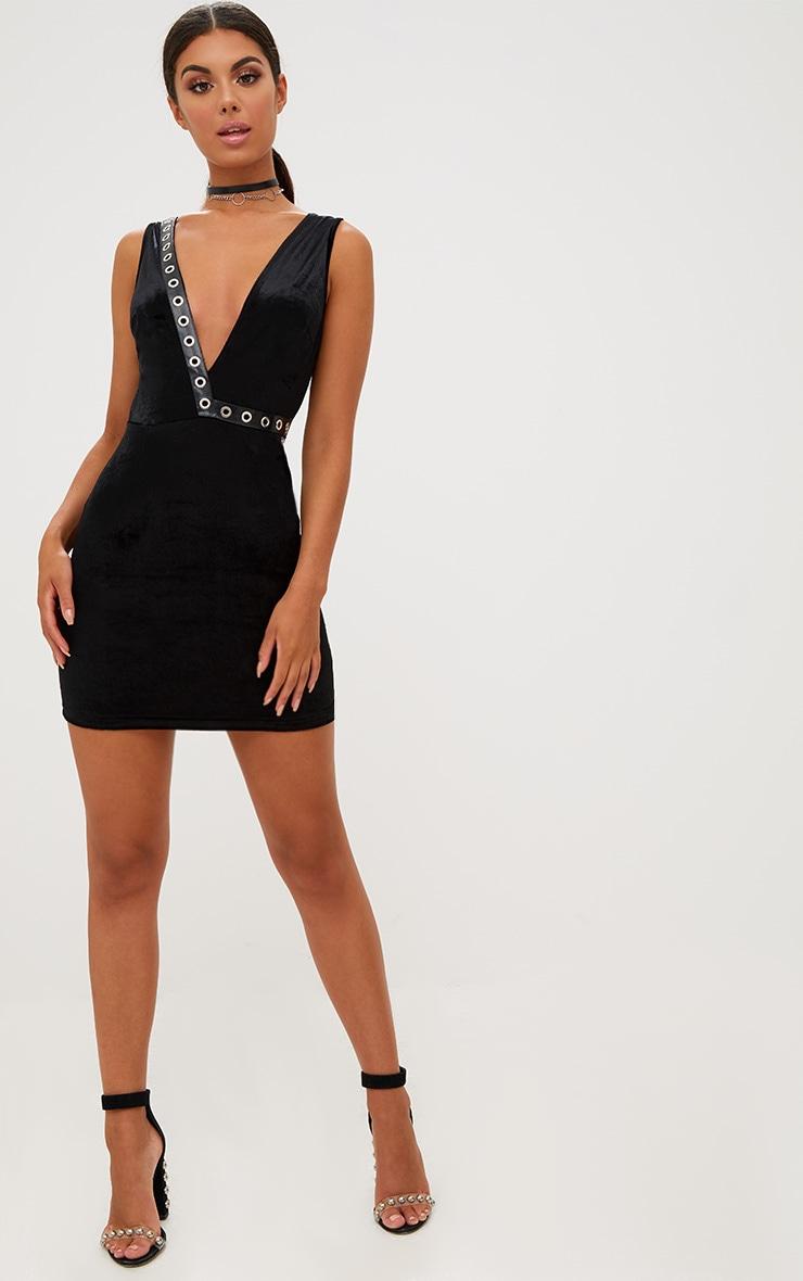 Black Eyelet Detail Velvet Plunge Bodycon Dress 3